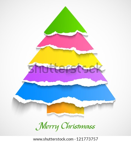 Torn paper colorful abstract christmas tree. Vector illustration