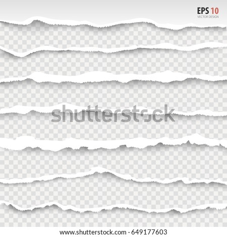 Torn paper edges, horizontally, vector. Realistic torn paper set with ripped edge,  space for text on transparent background. Torn page banner for web, print, sale promo, advertising, presentation.