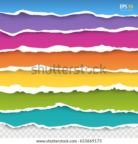 Torn paper edges vector: blue, pink, violet, orange, yellow, green, turquoise color paper. Realistic colored torn papers with ripped edge on transparent background. Torn page banners for web, print.