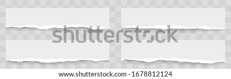 Torn paper edges with realistic shadow. Torn sheets of paper. A set of horizontally torn paper and strips. Pieces of torn horizontal paper strip is on isolated background - stock vector.