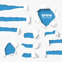 Torn paper holes in white paper with torn sides over blue paper background with space for text. Realistic vector torn paper with ripped edges for web and print.
