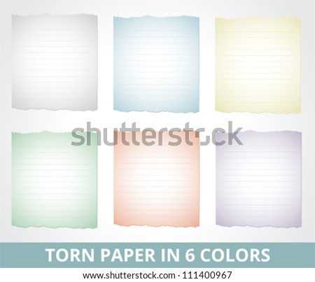 Torn paper in different colors