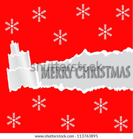 Torn paper in the shape of Christmas tree. Christmas card.