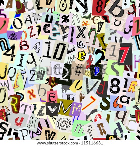 Torn paper letters and numbers vector. Repeating seamless wallpaper background. Continuous pattern left, right, up and down