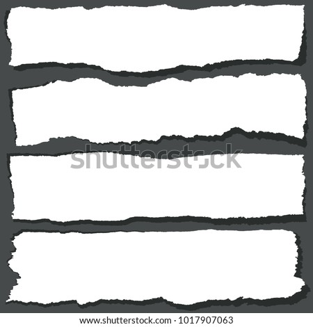 Torn paper ribbons with jagged edges. Abstract grange paper sheets vector set. Ripped paper design banner blank illustration Stock foto ©