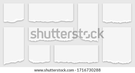 Torn paper scraps. Set of torn paper strips with ripped edges. White paper scraps, sticky ripped notes. Vector Foto stock ©