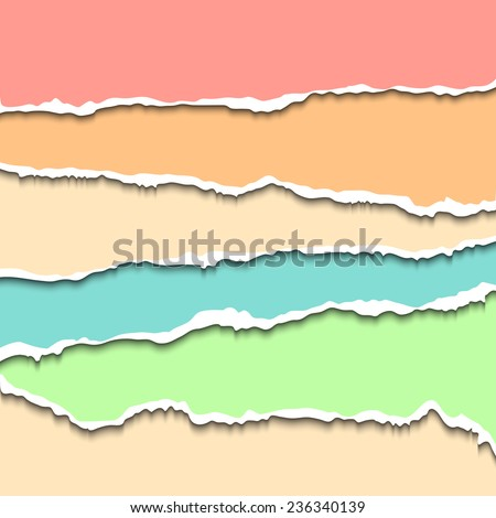 Torn paper strips set. Vector EPS10 illustration. Design elements - colored paper with ripped edges