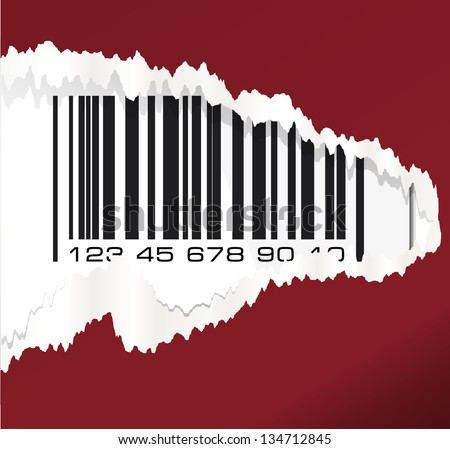 Torn paper with barcode. Vector illustration.