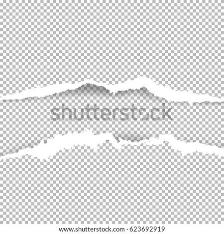Torn paper with ripped edges with shadow on transparent background. Graphic concept for your design.