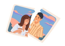 Torn picture of happy ex-couple. Break up and end of romantic relationship concept. Two pieces of photo with smiling man and woman. Colored flat vector illustration isolated on white background
