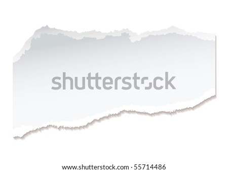 Torn piece of white paper with ripped edges and copyspace - stock vector