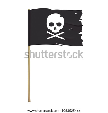 torn pirate flag with white