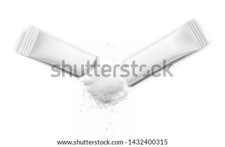 Torn realistic stick pack with product on white background. Possibility use for sugar, granulated, powder products.  Vector illustration. EPS10.