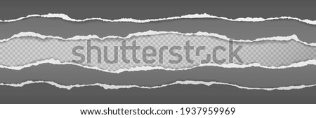Torn, ripped grey and black paper strips with soft shadow are on squared background for text. Vector illustration