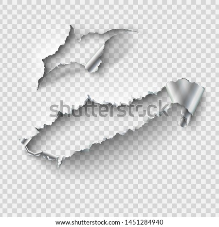 Torn ripped metal vector template, sides with ripped steel on realistic transparent background.