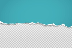 Torn, ripped piece of horizontal blue paper with soft shadow is on squared grey background for text. Vector illustration
