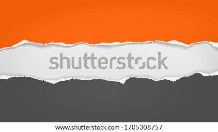 Torn, ripped pieces of horizontal orange and black paper with soft shadow are on white background for text. Vector illustration Stock photo ©