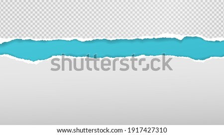 Torn, ripped white and squared paper strips with soft shadow are on turquoise background for text. Vector illustration