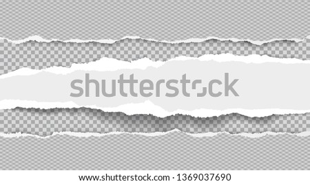 Torn, ripped, white and stright paper strips with soft shadow are on squared background. Vector template illustration