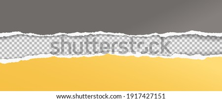 Torn, ripped yellow and dark grey paper strips with soft shadow are on squared background for text. Vector illustration