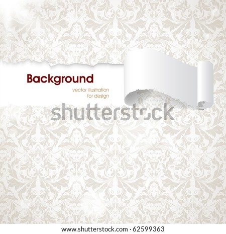 Torn seamless floral background for vintage design. Free place for text. Light ornament with abstract flowers and leafs.