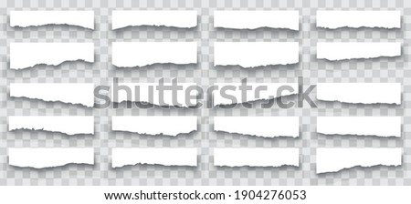 Torn sheets of paper. A set of torn paper and strips of paper on a dark background. Torn paper set vector, layered.Vector illustration. ストックフォト ©
