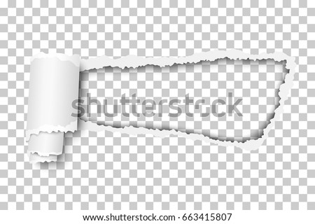 Torn, snatched hole in sheet of checkered transparent paper background. Template design.