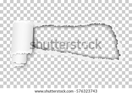 Torn, snatched window in sheet of checkered transparent paper background. Template design