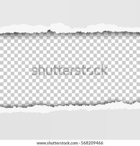 Torn, snatched window in sheet of paper. Checkered, transparent background of the hole.