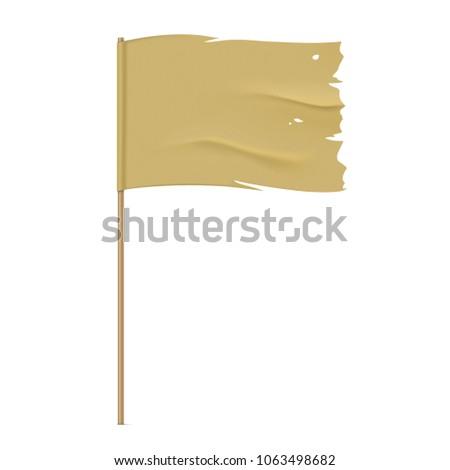 Torn vector flag. Waving khaki fabric flag, isolated on background. Tattered flag design. ストックフォト ©