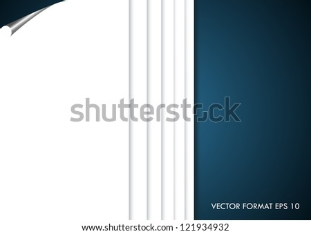 Torn white paper background - elegant vector illustration. Blank paper with page curl, realistic looking.
