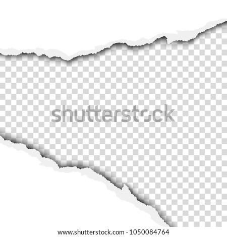Torn wide hole in white sheet of paper with transparent background of the resulting window. Vector template paper design.