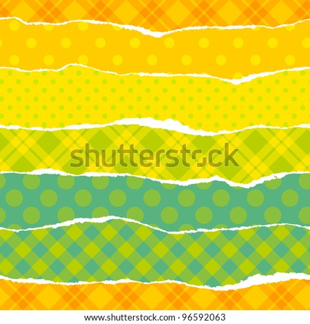 Torn wrapping paper. Seamless vector vibrant pattern.