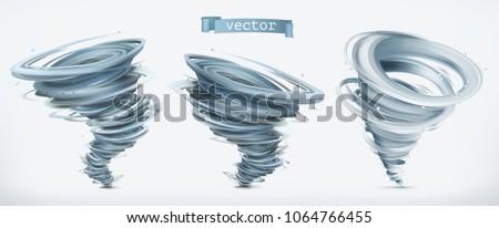 tornado 3d vector icon set