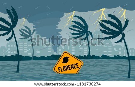 Tornado hurricane Florence, emerging from the ocean. Ecological catastrophe and the sign of the catastrophe drowned in the flood. flat vector illustration
