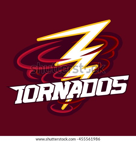 Tornado mascot for sport teams. Tornado with Lightning, logo, symbol on a dark background.