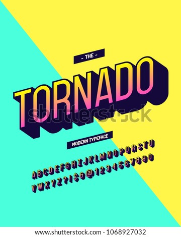Tornado modern typeface colorful 3d style. Cool original alhabet. Font trend typography for t shirt, promotion, shop, party poster. Vector Illustration 10 eps
