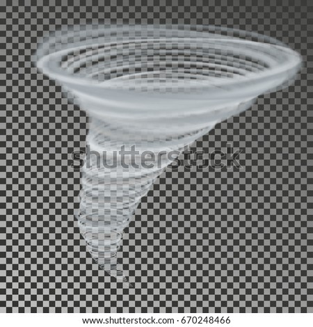 Tornado vector isolated on background. Transparent storm twister. Swirl tornado air effect.
