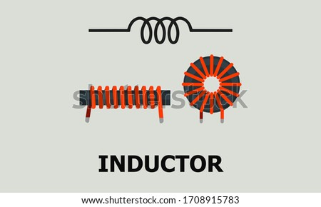Toroidal Coil Inductor vector Illustration with Symbol. Сток-фото ©