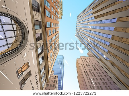 Toronto. Canada. Unusual perspective  View of the bottom of the skyscraper. Urban sketch. Hand drawn, vector illustration.