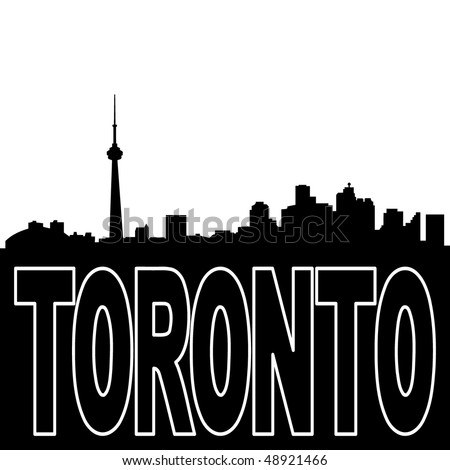 Toronto skyline black silhouette on white illustration