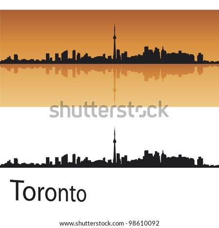 Toronto skyline in orange background in editable vector file