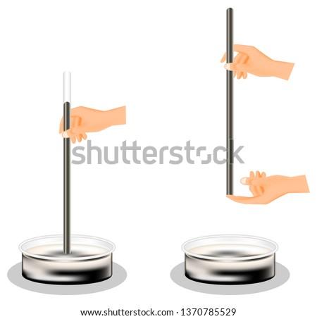 Torricelli open air pressure experiment, physics, gas pressure, mercury, 76 cmHg