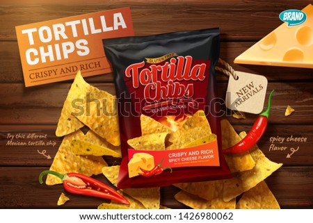 Tortilla chips ads with corn chips on wooden table in 3d illustration