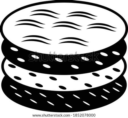 Tortilla Concept, Totopos Vector Icon Design, Mexican culture symbol on White background, Customs & Traditions Signs, Mesoamerican Flatbread, Foto stock ©