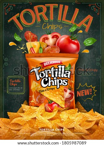 Tortilla corn chips ad with a pile of chips on blackboard background, classic retro design in 3d illustration Foto stock ©