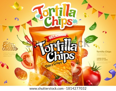 Tortilla corn chips ad with fresh ingredients on yellow background, 3d illustration