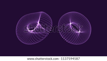 Stock Photo Torus. Object with dots. Molecular grid. Technology style with particle. Vector illustration. Futuristic connection structure for chemistry and science.