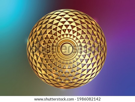 Torus Yantra, Gold Hypnotic Eye sacred geometry basic element. Golden Logo Circular mathematical ornament. Circular pattern from the crossed circles, vector isolated on colorful background  Сток-фото ©