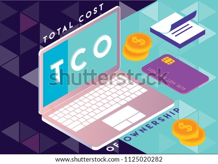 Total cost of ownership concept isometric illustration